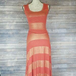 Zara coral and gold maxi dress